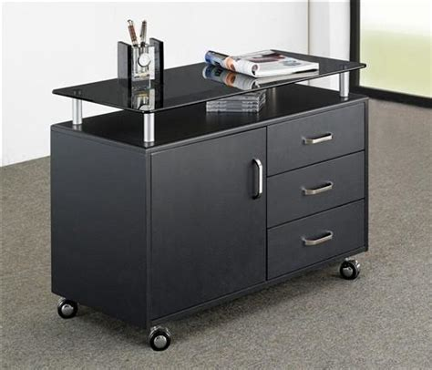 mobile printer stand with drawers compact workstation with storage and optional printer