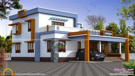 box type home in beautiful style kerala home design and box type house exterior elevation kerala home design and