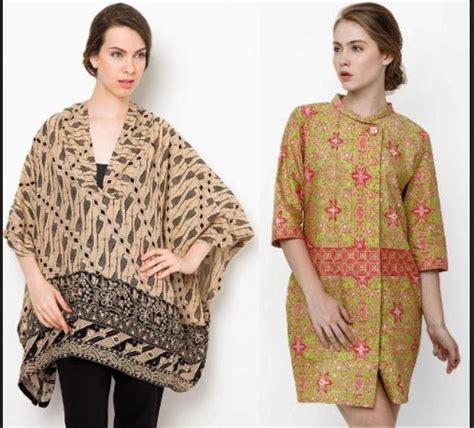 Blus Batik Cap Pola Bahu Tunik 2 model baju batik wanita modern yang keren