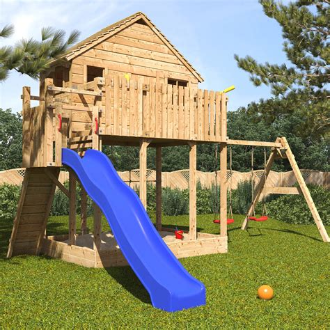 playhouses with slide and swings xxl play tower tree house stilt kids playhouse sandpit