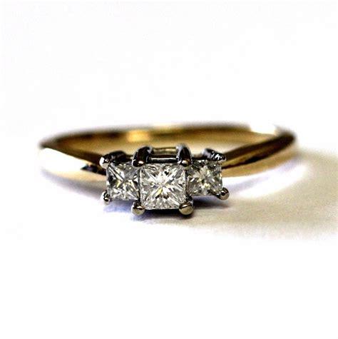 14k yellow gold princess 3 three engagement