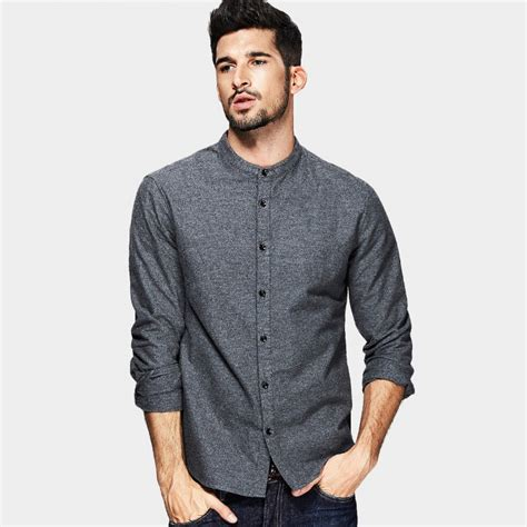 dress shirt picture more detailed picture about asian style dresses kuegou asian collar shirt grey fc 5869 0cm