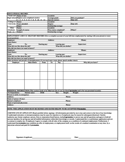 section 61 application form employment application form for ecomaine free download