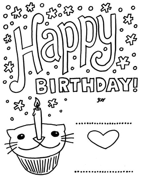 printable birthday cards free to color happy birthday printable cards to color free reference