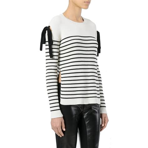 striped shoulder sweater valentino bow cold shoulder striped sweater evachic