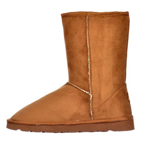 ella fur lined flat ankle winter slouch boot chestnut