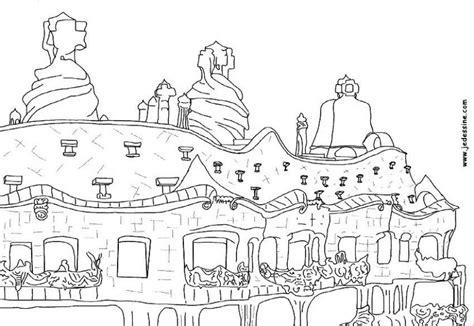 gaudi colouring gaudi barcelona casa mil 224 la pedrera colouring page picolour