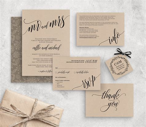 wedding invitation template instant download rustic