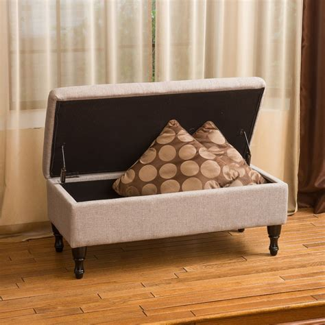 Plush Storage Ottoman Living Room Grey Fabric Storage Ottoman W Plush Tufted Top Ebay