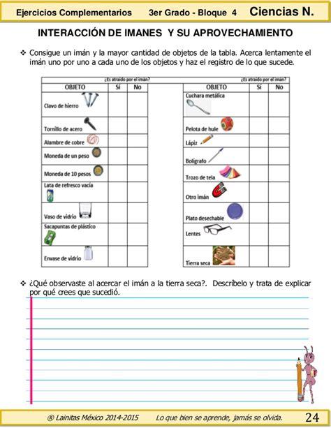 ciencia de 10 grado ejercicios 3er grado bloque 4 ejercicios complementarios