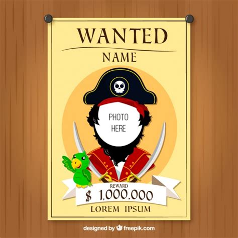 wanted pirate poster template wanted poster of pirate design vector free