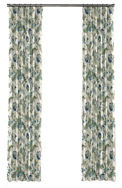 Jacobean Floral Curtains Blue Jacobean Floral Custom Drapery Panel Traditional Curtains Nashville By Loom Decor