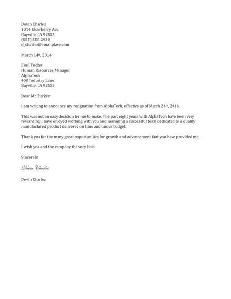 Resignation Letter Format Writing Announcement Sle