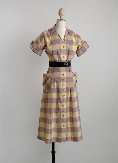 1940s check dress with tucks   dramatic pockets   Hemlock