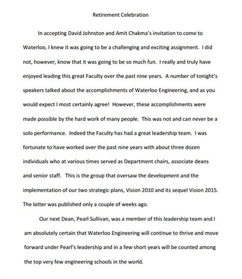 retirement speech template 9 retirement speech sles sle templates