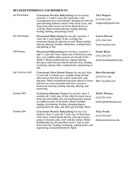 nanny reference template exle resume best nanny resume exle