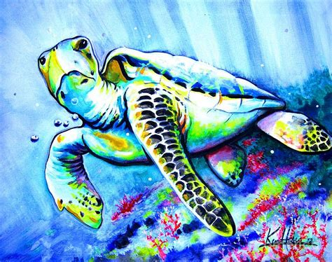 loggerhead sea turtle and reef painting by ken huber