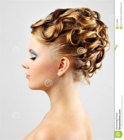 modern gray frame haircut modern wedding hairstyle on gray royalty free stock image