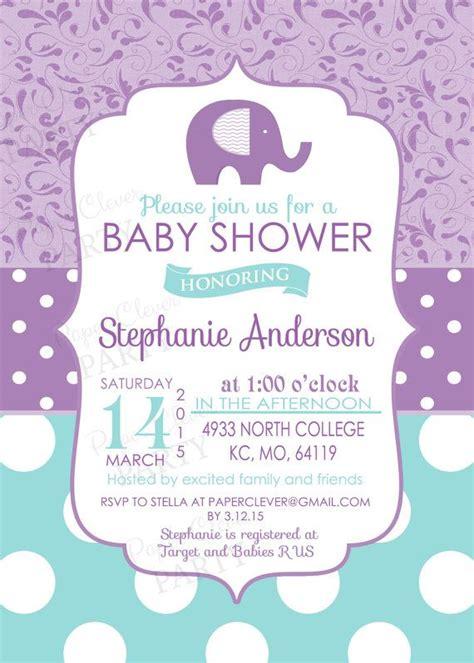 purple baby shower invitation templates purple elephant invitation for baby shower charming