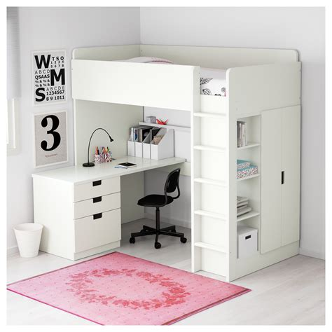 loft bed with desk ikea stuva loft bed combo w 3 drawers 2 doors white 207x99x193