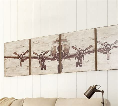planked airplane panels set pottery barn
