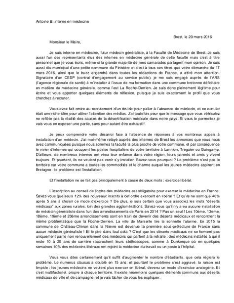 Modèle De Lettre à Un Docteur Lettre D Un Interne Au Maire De La Roche Derrien