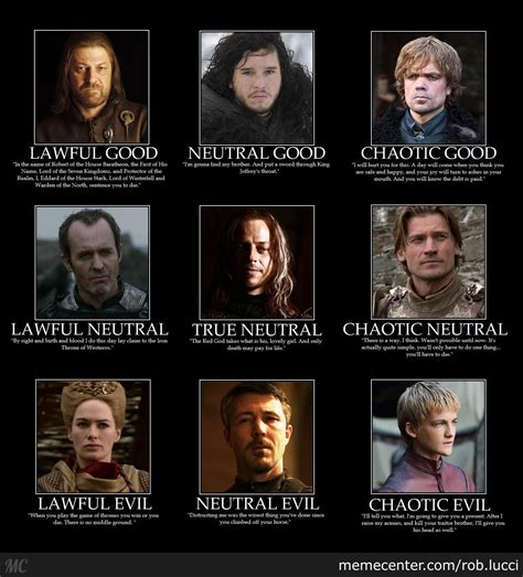 Alignment Meme - game of thrones d d alignment by rob lucci meme center