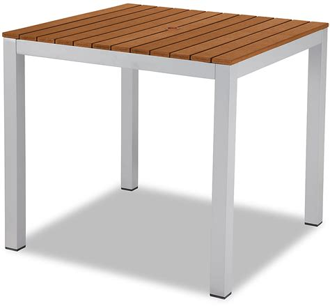 aluminum patio table in silver finish with plastic teak slats