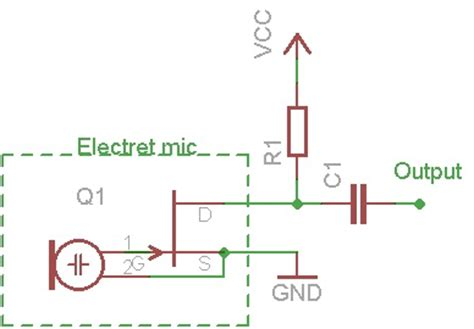 capacitor microphone circuit pin electret microphone circuit on