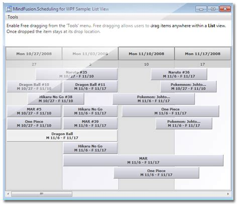 listview layout manager mindfusion scheduling for wpf calendar and schedule
