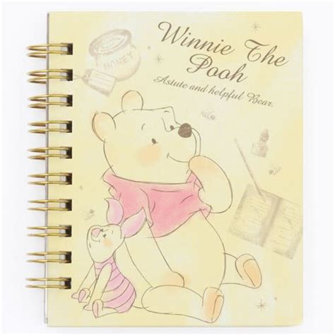 Binder Pooh 20ring small yellow ring binder notebook with winnie the pooh piglet honey pot memo pads
