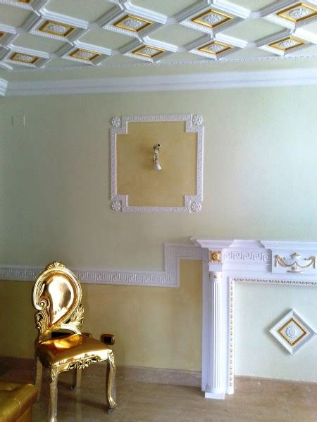 soffitto a cassettoni in gesso cornici styldecor italiano