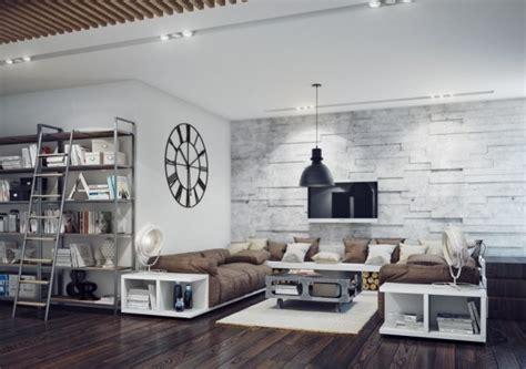 living room design style home top:  design charming industrial style living room design with brown sofa