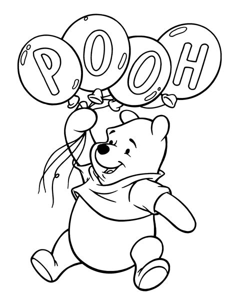 free coloring pages of pooh with balloons