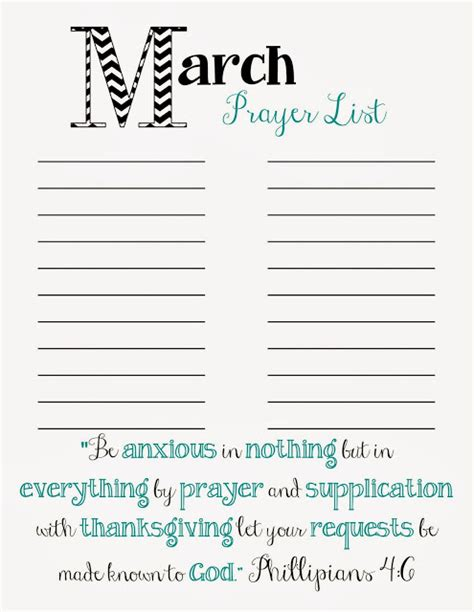 printable prayer list template doodles stitches march prayer list printable