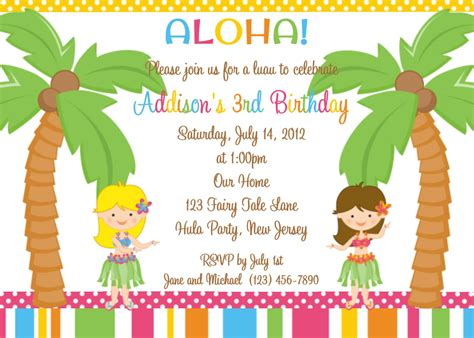 printable kids luau invitations invites pinterest