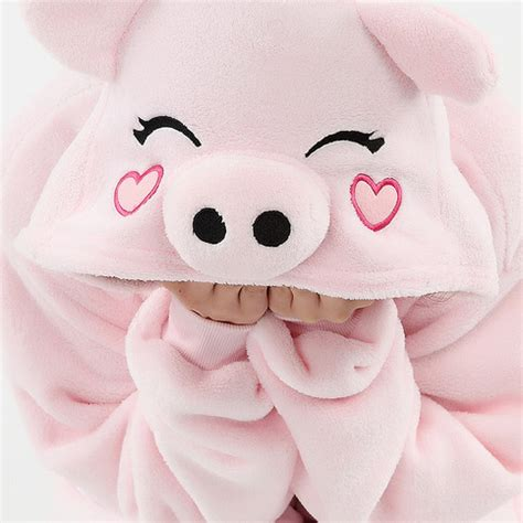 christmas gift pink pig coral fleece coverall love heart