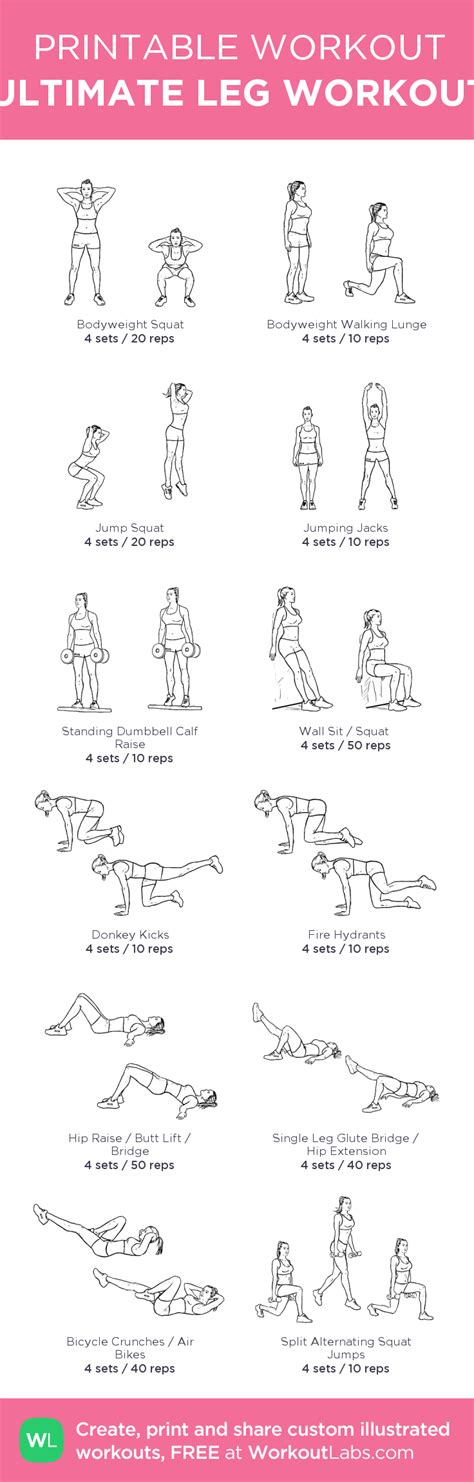 printable exercise images ultimate leg workout my custom printable workout by