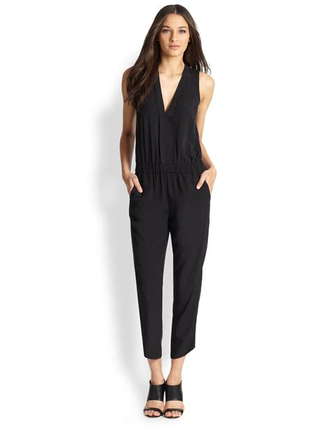 Cropped Jumpsuit splendid shirting cropped jumpsuit in black matte black