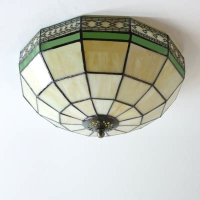 stained glass flush mount ceiling light white stained glass 12 inch 2 light flush mount