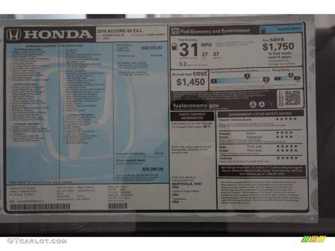 Honda Accord Sticker by 2016 Honda Accord Ex L Sedan Window Sticker Photos
