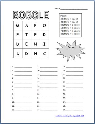 Boggle Printable free boggle templates for your classroom minds in bloom