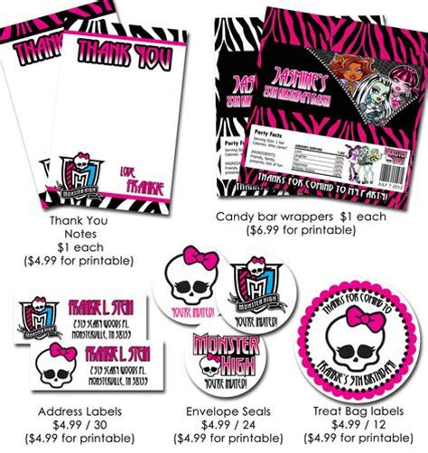 monster high birthday invitations template