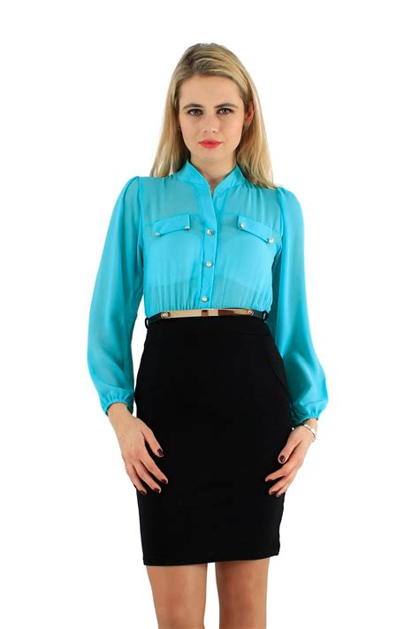 Simple Listy 6 Blouse Dod Shop 2 cut back pencil skirt chiffon gold belated two tone