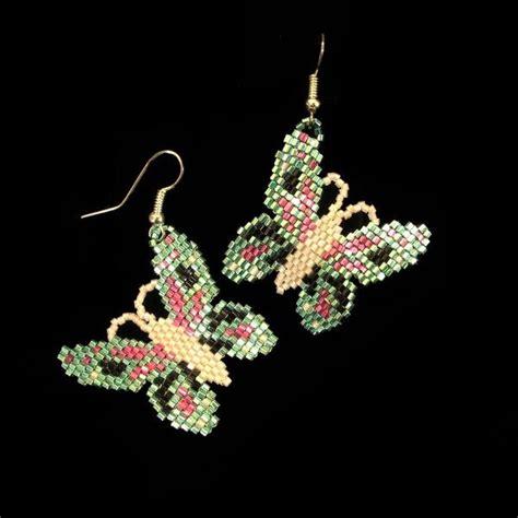 butterfly beaded earrings iris green beaded butterfly earrings