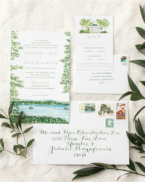 illustrated lakeside wedding invitations