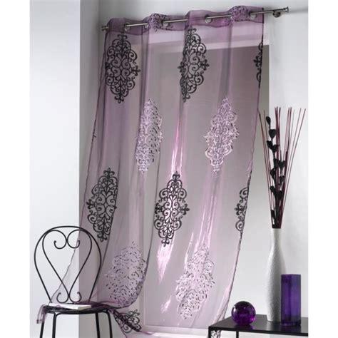 rideau voilage 140 x 240 cm œillets violet achat vente rideau cdiscount