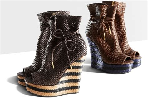 style mad striped wedge woven leather boots by burberry