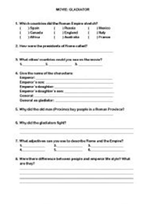 gladiator film study guide english teaching worksheets gladiator