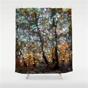 enchanted forest shower curtain by sharandra society6